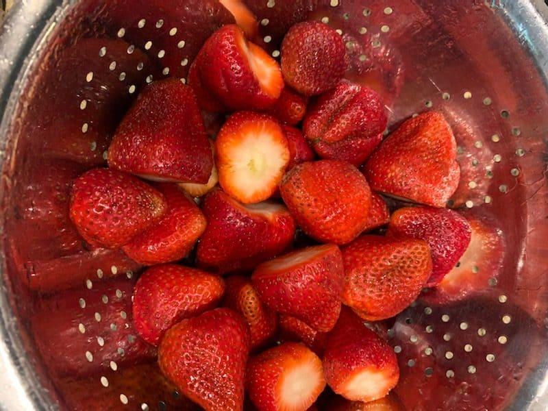 Strawberries in a colandar