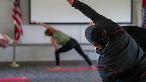 Lindsay Joyce Teaches Yoga to Employees