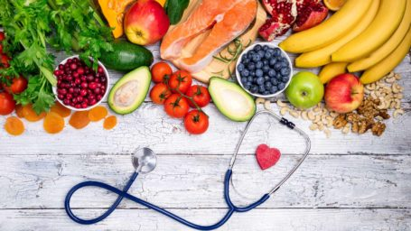 Fruits and vegetables with a stethoscope