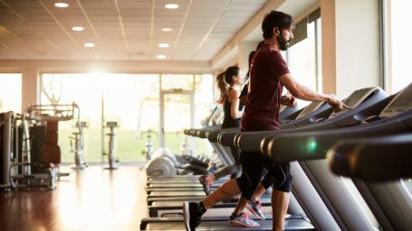 running at the treadmill.