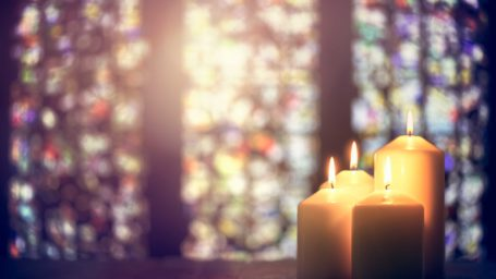 Candles with stained glass windows